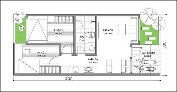Bản vẽ thiết kế nhà ống 2 tầng 4 phòng ngủ