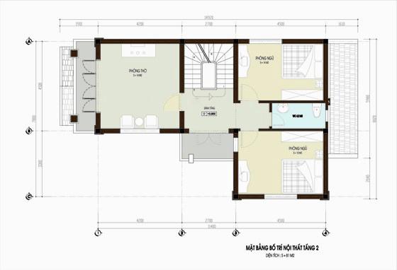 mặt bằng nội thất nhà 2 tầng hiện đại tiện nghi ở nông thôn 2.
