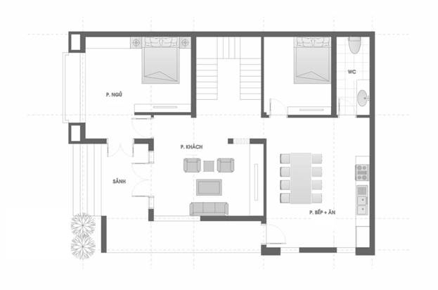 mat bang tang 1 16 - Thiết kế biệt thự 3 tầng mái thái kinh phí 2 tỷ ở Thanh Hoá