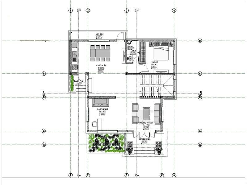 mat bang tang 1 biet thu 2 tang - Công trình biệt thự 2 tầng 4 phòng ngủ đẹp mái thái