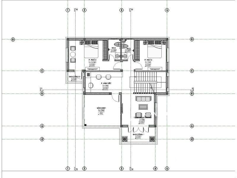 mat bang tang 2 biet thu 2 tang - Công trình biệt thự 2 tầng 4 phòng ngủ đẹp mái thái