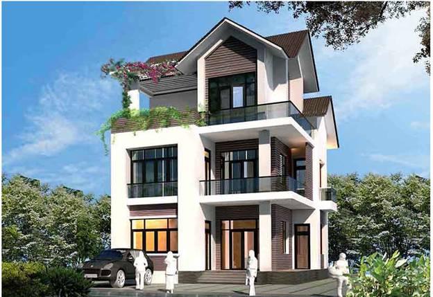 mau thiet ke biet thu 3 tang mai thai dep va loi cuon - Thiết kế biệt thự 3 tầng mái thái kinh phí 2 tỷ ở Thanh Hoá