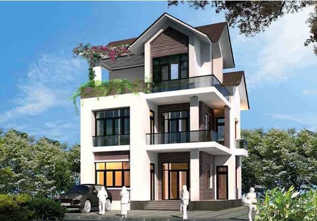 thiet ke biet thu 3 tang mai thai - Thiết kế biệt thự 3 tầng mái thái kinh phí 2 tỷ ở Thanh Hoá