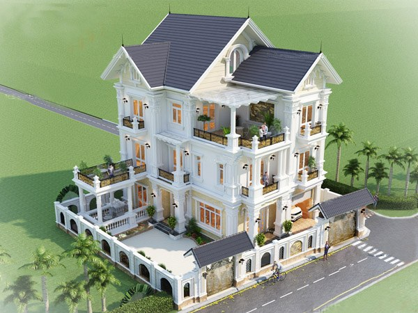 Thiết kế biệt thự 3 tầng tân cổ điển