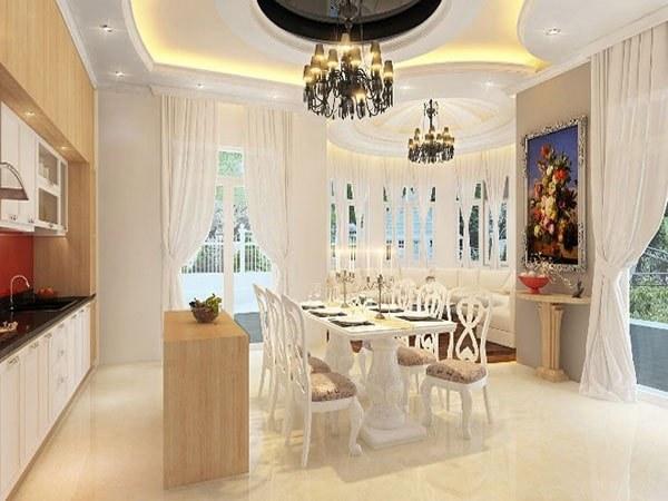 Không gian phòng ăn tươi sáng, sang trọng cho chung cư 3 phòng ngủ