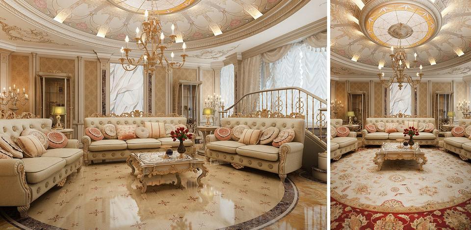 Phòng khách sang trọng theo phong cách cổ điển cho chung cư 3 phòng ngủ