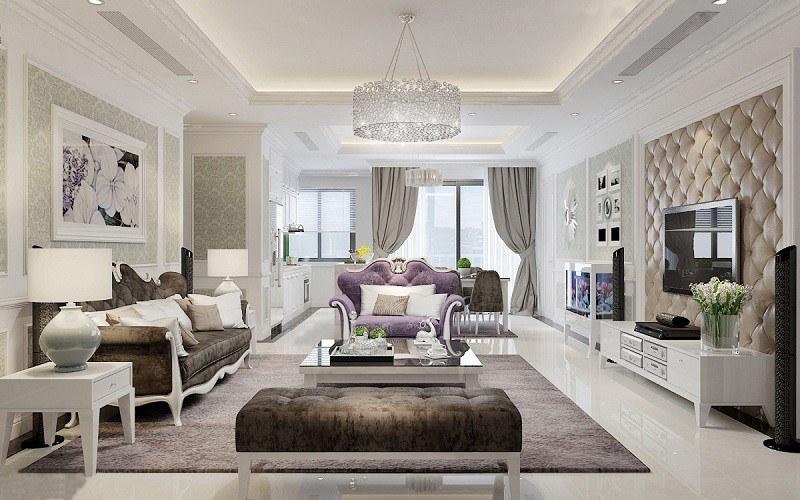 Phòng khách tân cổ điển với sự kết hợp nhuẫn nhuyễn và tinh tế giữa các màu sắc