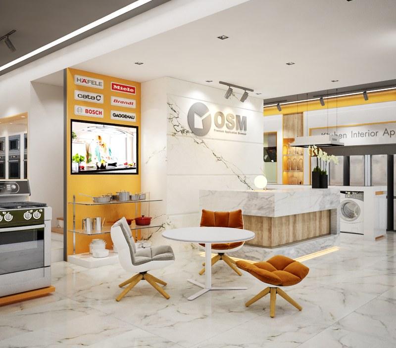 Thiết kế thi công shop điện lạnh hàng gia dụng hiện đại