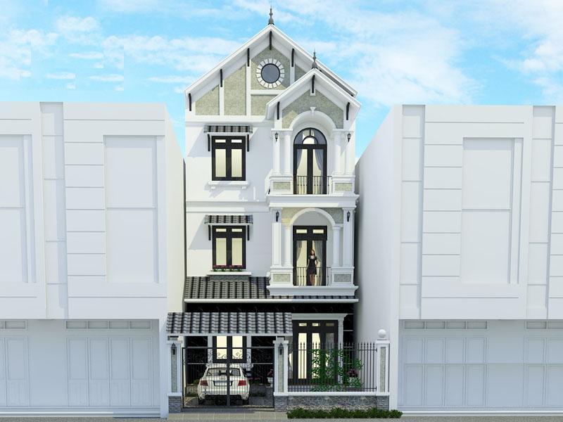 mat dung mau nha xay biet thu 2 ty - Biệt thự phố mini 3 tầng kiến trúc tân cổ điển đẹp