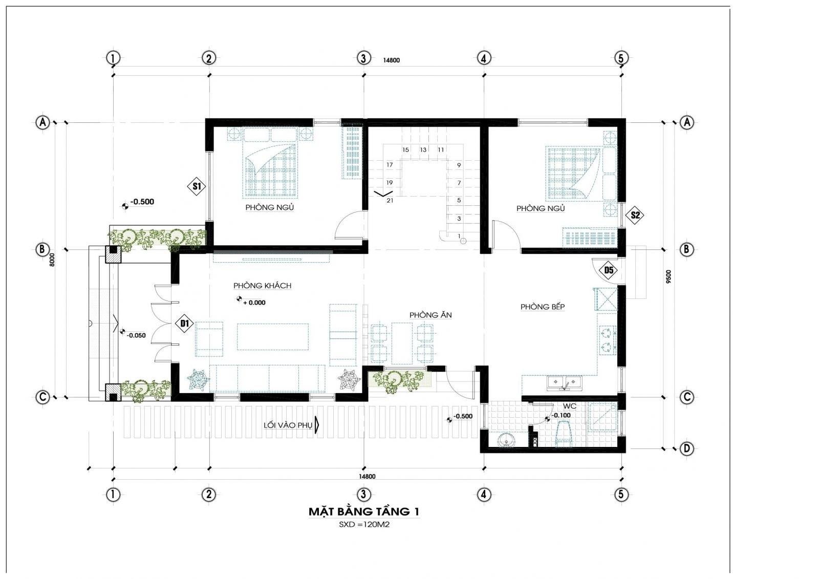 mat bang tang 1 biet thu 2 tang hien dai - Thiết kế biệt thự 2 tầng hiện đại ở Hưng Yên