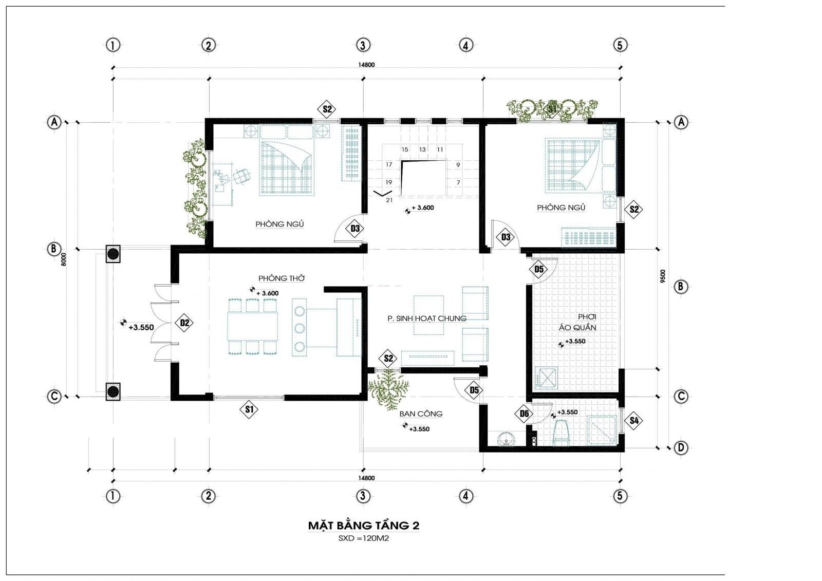 mat bang tang 2 biet thu 2 tang hien dai - Thiết kế biệt thự 2 tầng hiện đại ở Hưng Yên