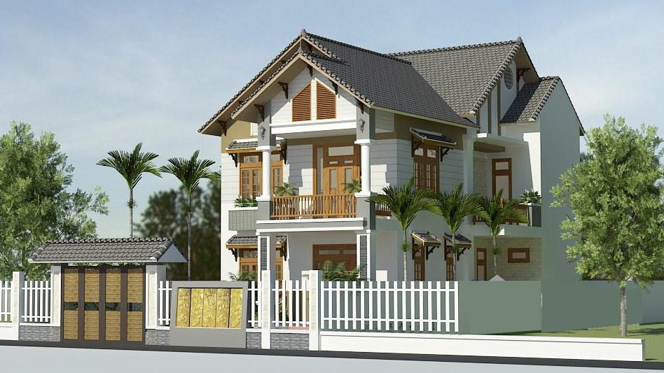 mau biet thu 2 tang hien dai - Thiết kế biệt thự 2 tầng hiện đại ở Hưng Yên