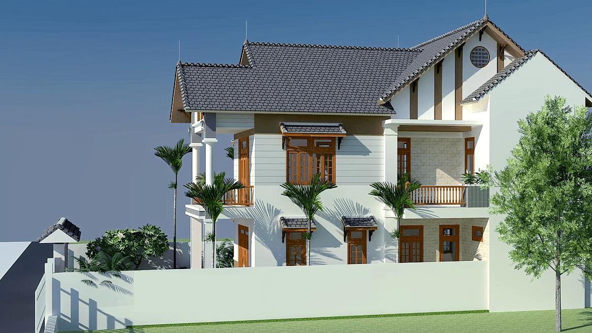 phoi canh biet thu 2 tang hien dai - Thiết kế biệt thự 2 tầng hiện đại ở Hưng Yên