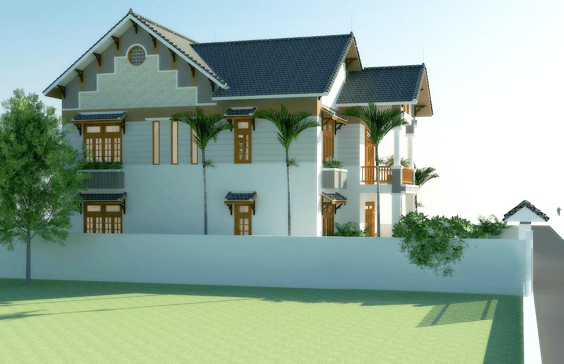 tong quan biet thu 2 tang hien dai - Thiết kế biệt thự 2 tầng hiện đại ở Hưng Yên