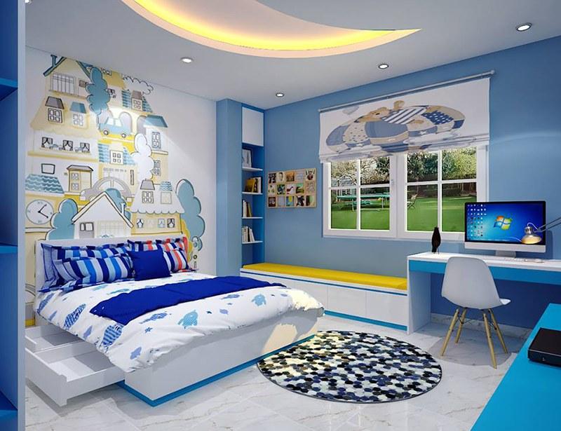Nội thất phòng ngủ cho bé màu xanh dương