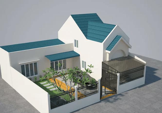 Phối cảnh thiết kế ngôi nhà mái thái có gara