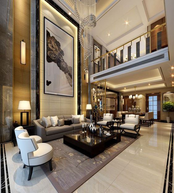 Mẫu thiết kế nội thất phòng khách có tầng lửng