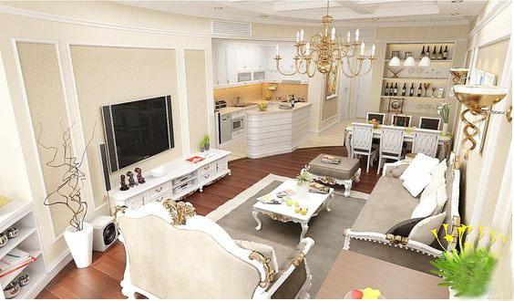 Mẫu nội thất phòng khách chung cư phong cách tân cổ điển