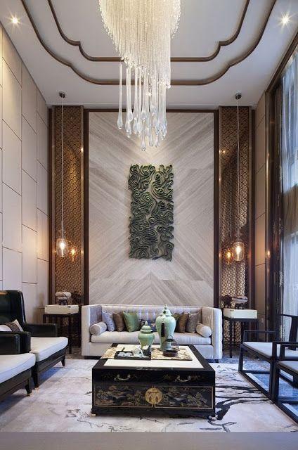Nội thất phòng khách mang phong cách Trung Quốc