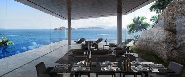 Thi công nội thất biệt thự phòng ăn view biển