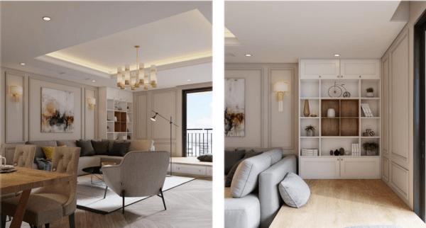 Thi công nội thất phòng khách căn hộ phong cách hiện đại