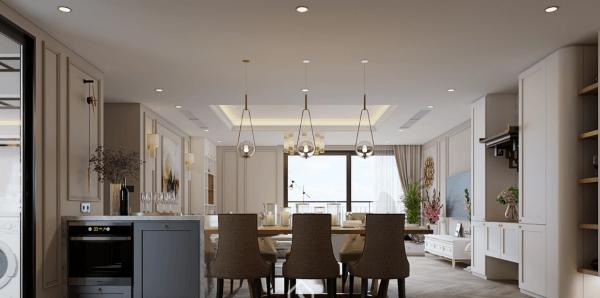 Thi công nội thất phòng khách liền bếp căn hộ phong cách hiện đại