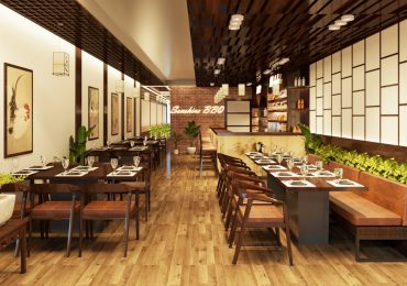 Nhà hàng được thiết kế với màu sắc hài hòa