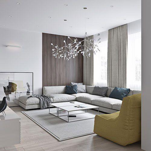 Thiết kế nội thất phòng khách nhẹ nhàng