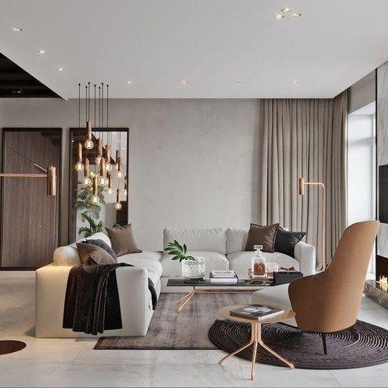 Thiết kế nội thất phòng khách mang phong cách hiện đại đơn giản và sang trọng