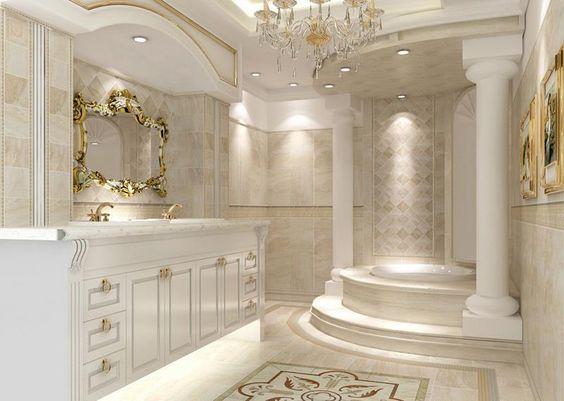 Thiết kế nội thất phòng tắm căn hộ tân cổ điển