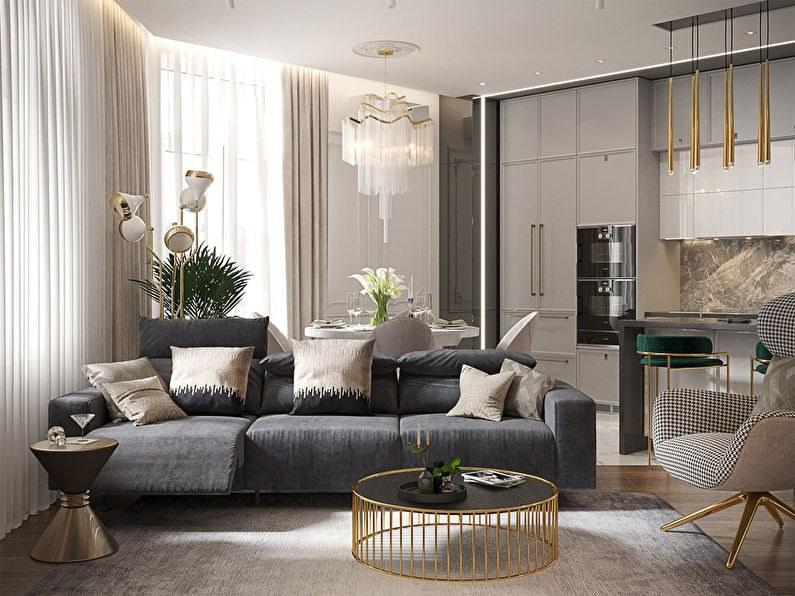 Phòng khách hiện đại và nổi bật với gam màu xám sáng
