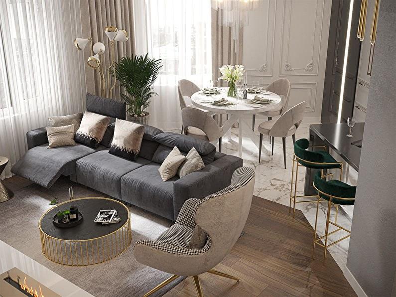Phòng khách thiết kế liền kề với bàn ăn