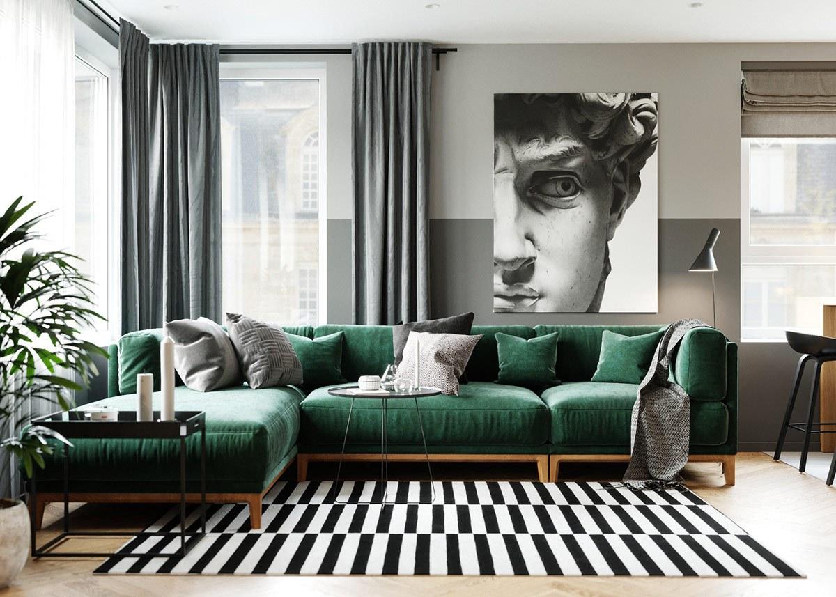 thiết kế nội thất phòng khách căn hộ 69m2