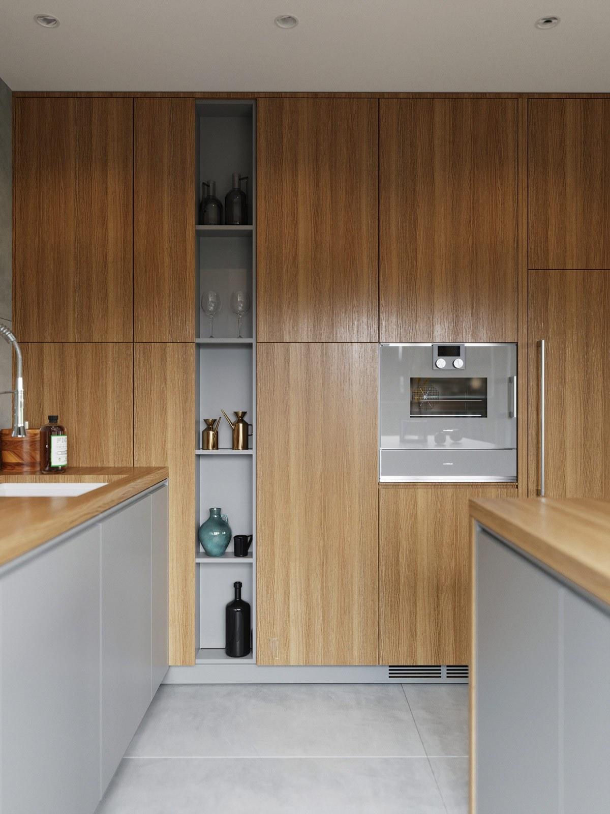 thiết kế nội thất phòng bếp liền khách căn hộ 69m2