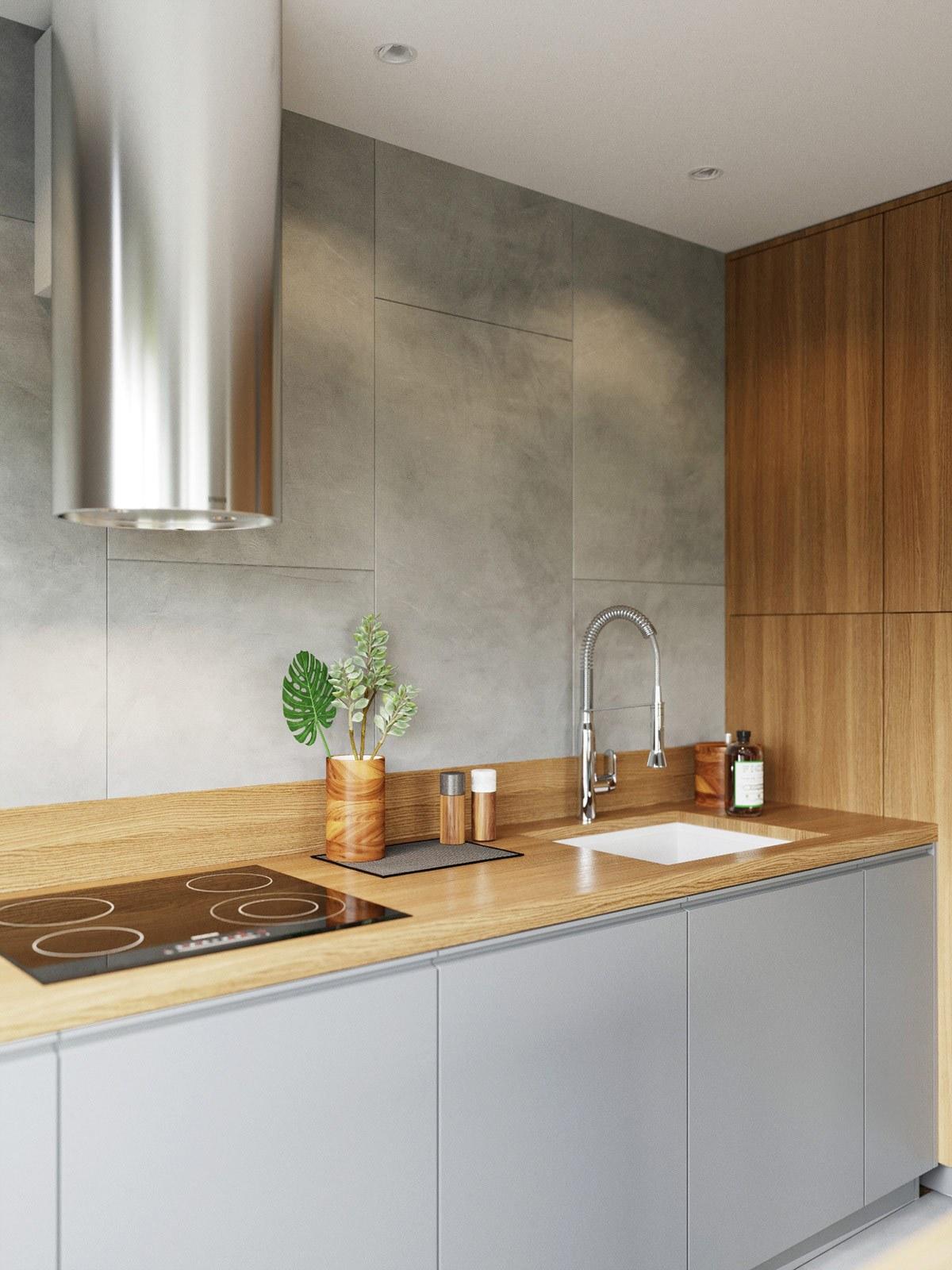 thiết kế nội thất tủ bếp căn hộ 69m2