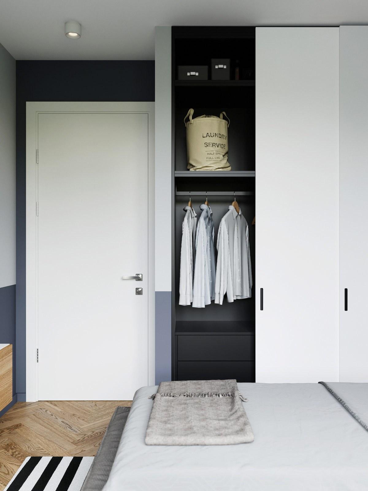 thiết kế nội thất tủ quần áo phòng ngủ con trai căn hộ 69m2