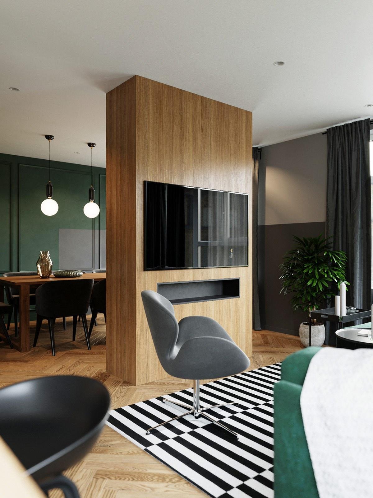 thiết kế nội thất vách ngăn phòng khách căn hộ 69m2