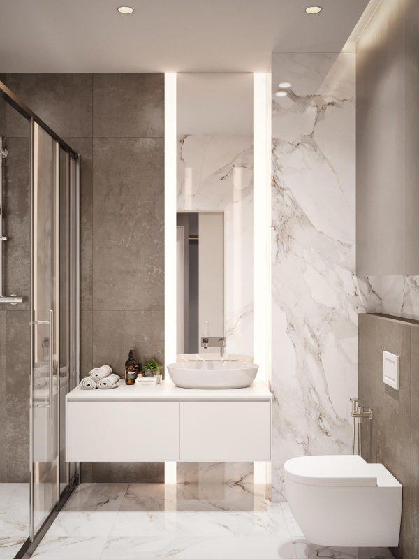Thiết kế nội thất phòng vệ sinh trong căn hộ 3 phòng ngủ