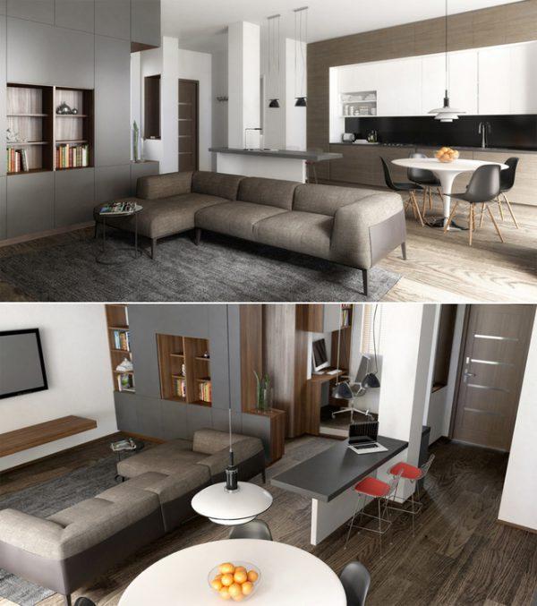 Thiết kế nội thất phòng khách trong căn hộ 3 phòng ngủ