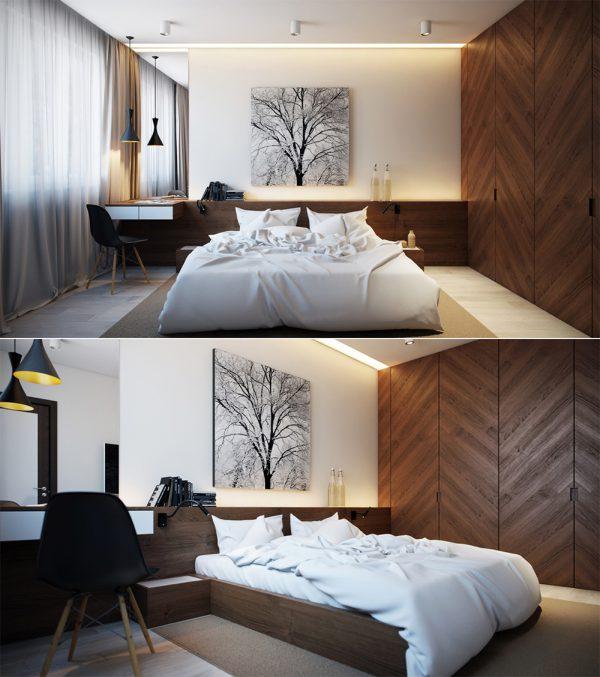 Thiết kế nội thất phòng ngủ trong căn hộ 3 phòng ngủ