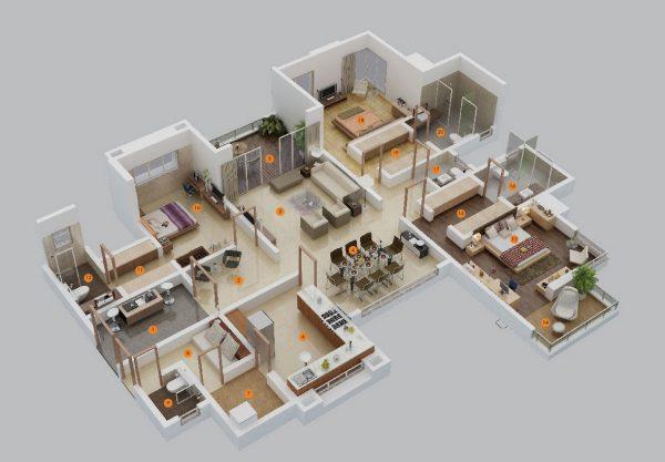 Thiết kế nội thất căn hộ 3 phòng ngủ 3 phòng vệ sinh