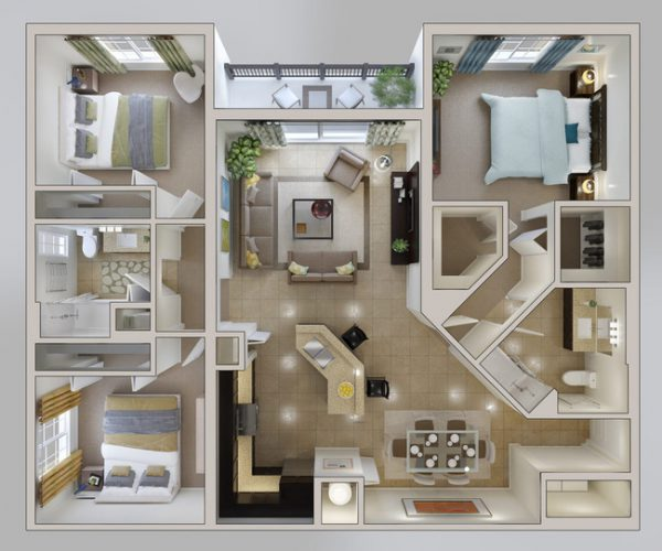 Thiết kế nội thất căn hộ 3 phòng ngủ 2 phòng vệ sinh