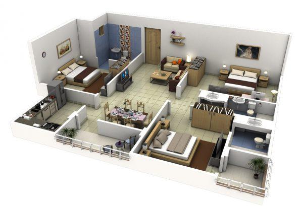 Thiết kế nội thất căn hộ 2 phòng ngủ với 2 phòng vệ sinh