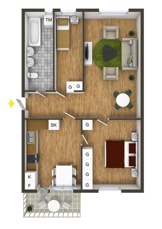 Thiết kế nội thất căn hộ 2 phòng ngủ với 1 phòng vệ sinh và ban công