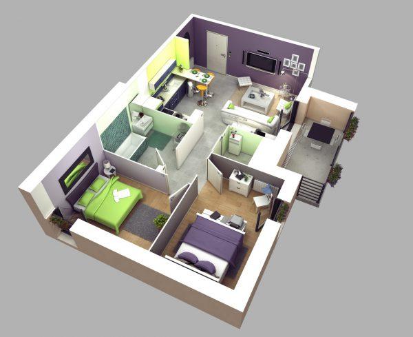 Thiết kế nội thất căn hộ 2 phòng ngủ với phòng vệ sinh rộng
