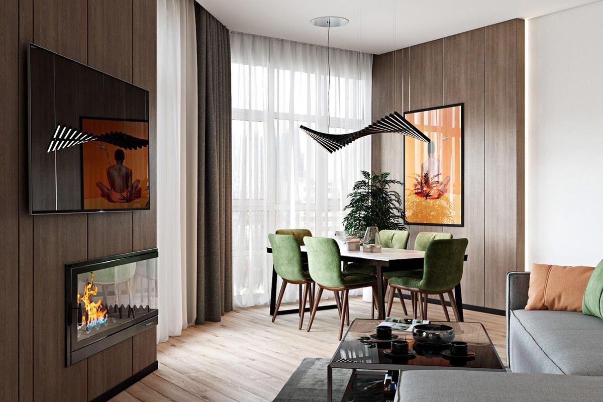 Thiết kế nội thất phòng khách liền bếp căn hộ hiện đại