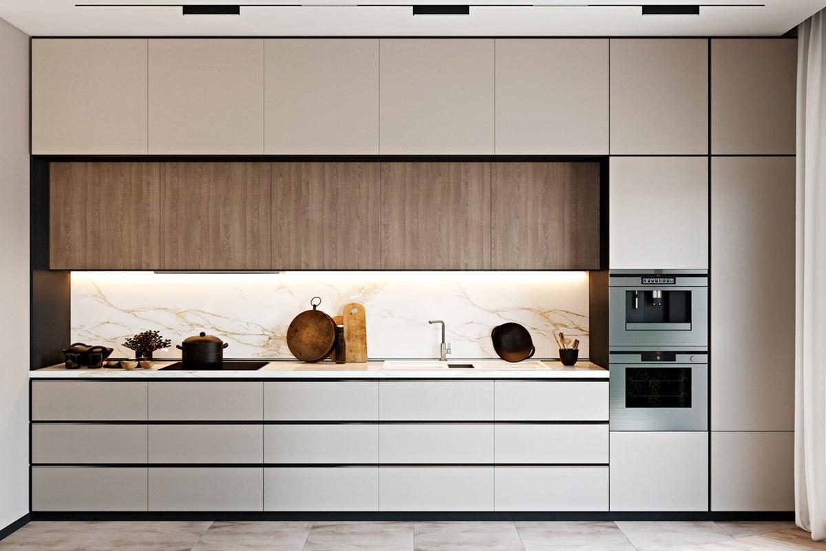 Thiết kế nội thất phòng bếp căn hộ hiện đại