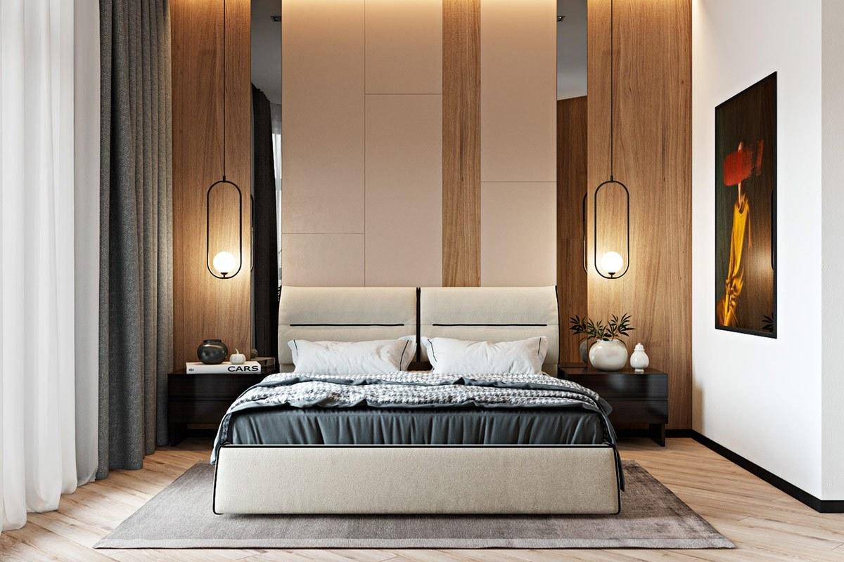Thiết kế nội thất phòng ngủ master căn hộ hiện đại