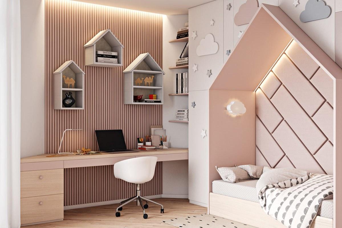 Thiết kế nội thất phòng ngủ trẻ con căn hộ hiện đại