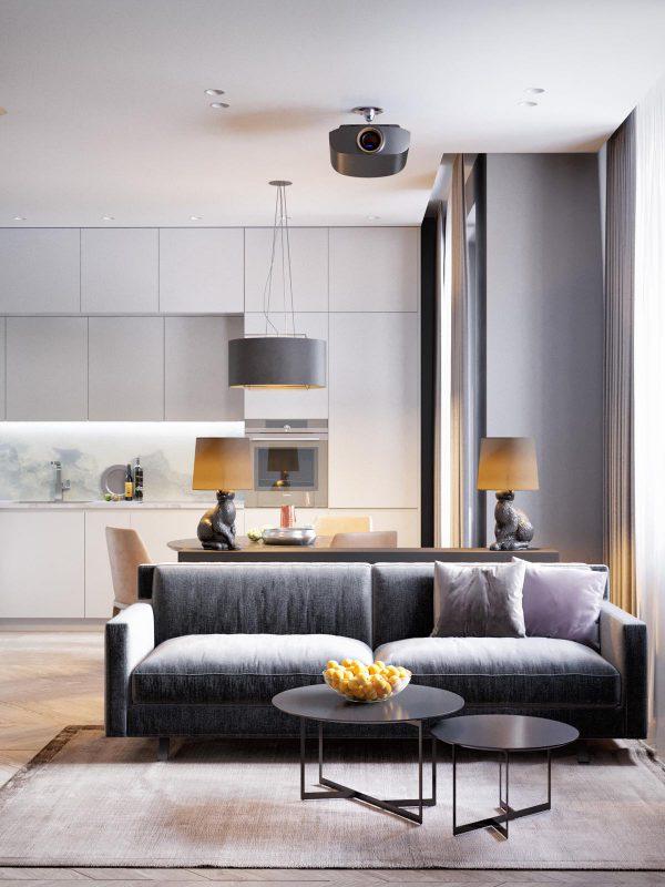 Thiết kế nội thất phòng khách căn hộ hiện đại